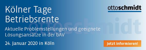 Kölner Tage Betriebsrente - 24.01.2020. Hier informieren und anmelden!