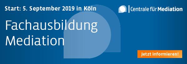 Jetzt anmelden: Fachausbildung Mediation - 05.09.2019