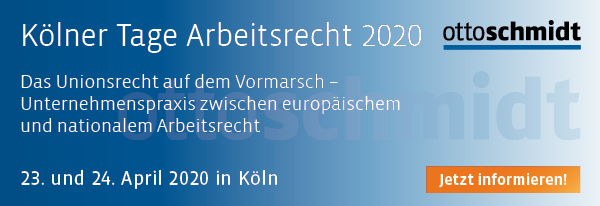 Kölner Tage Arbeitsrecht 2020. Hier informieren und anmelden.